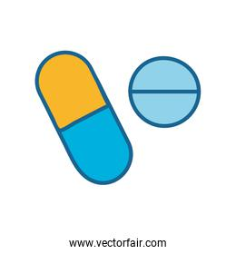 Pills line and fill style icon vector design