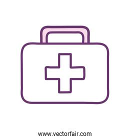 Medical kit with cross line style icon vector design