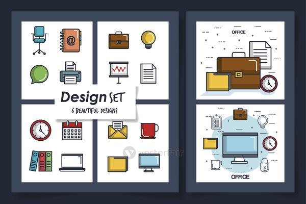 six designs of office equipments with icons