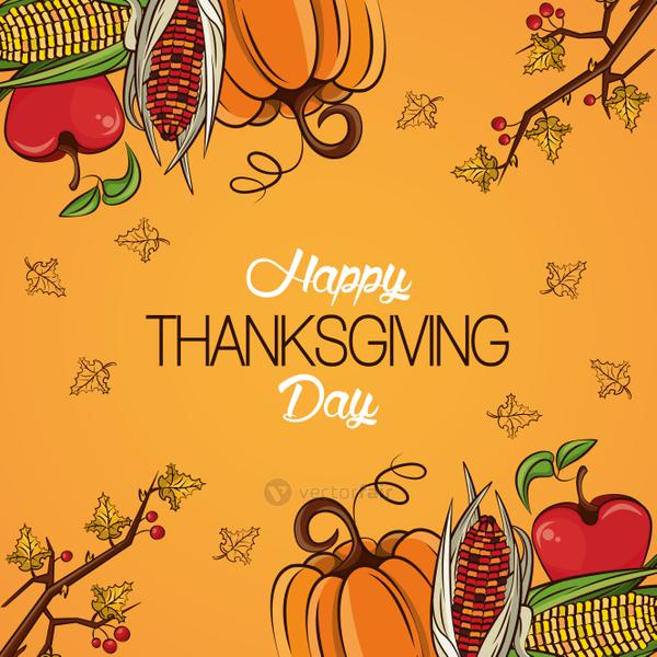 happy thanksgiving day card with vegetables frame
