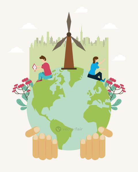 save the nature campaign with people and world planet