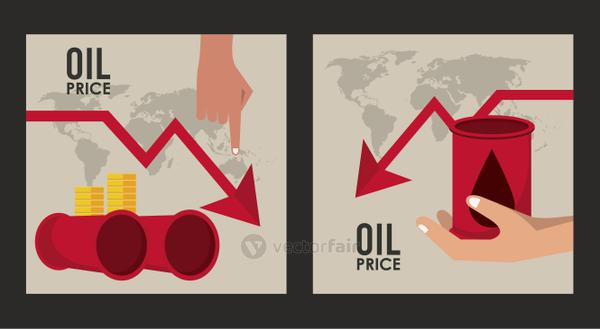 oil price infographic with barrels and arrows in the world