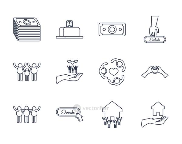 hands and charity donations icon set, line style