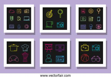 business icons of business with technology and food