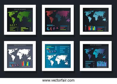 Workflows with world map set vector design