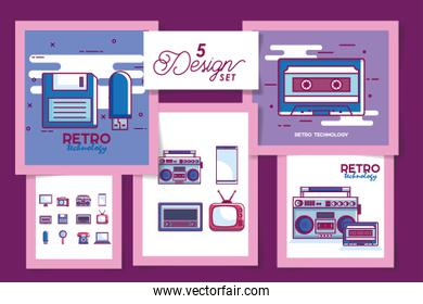 Five retro and digital technology designs