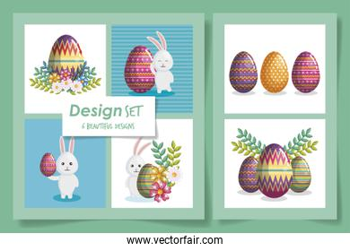 Six designs of of happy easter celebration