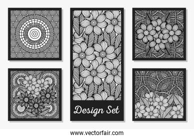 Black and white ornaments drawings frames set design