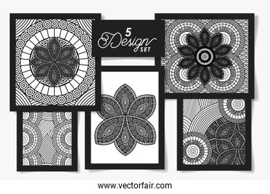 Five designs of black and white ornaments drawings