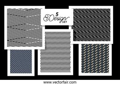 Five designs of black white and blue backgrounds