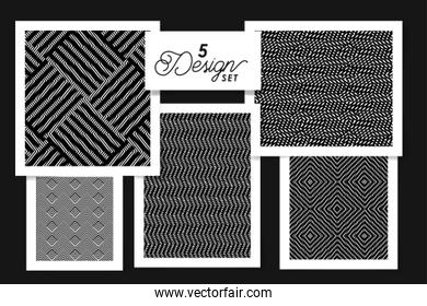 Five designs of black and white backgrounds