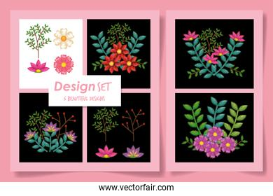 Six designs of natural flowers and leaves