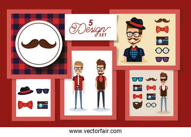 Five designs of hipsters and style men