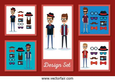 Hipsters men frames set vector design