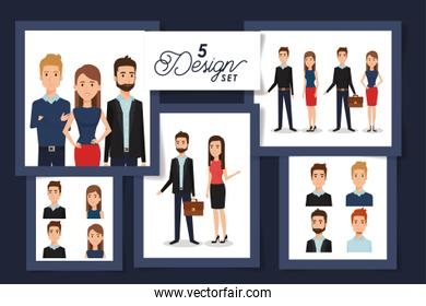 Five designs of Businesspeople avatars