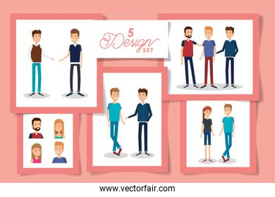 Five designs of women and men avatars over pink background