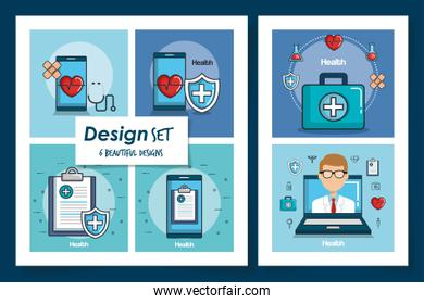six designs of health and icons