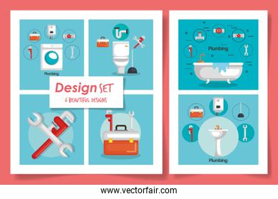 six designs of plumbing and icons