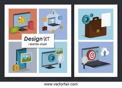 six designs of social marketing and icons