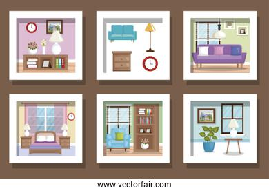 bundle designs scenes interior of home and icons