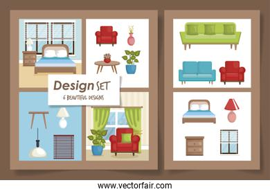 six designs scenes interior of home and icons