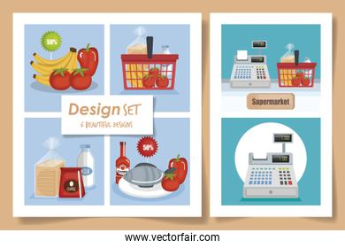 six designs of scenes supermarket with icons