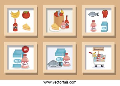 bundle designs of supermarket with icons