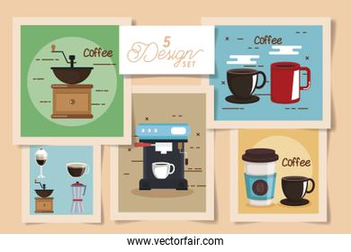 five designs of coffee and icons