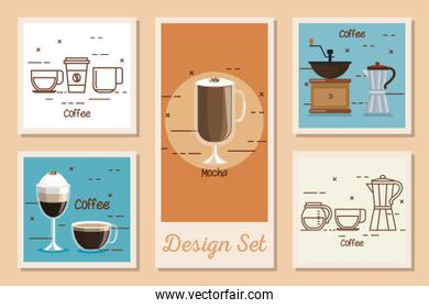 design set of coffee and icons