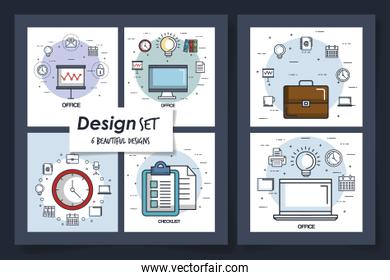 six designs of office equipments