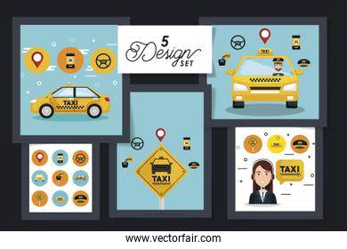 five designs of service taxi with icons