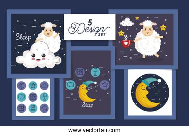 five designs for sleep scenes and cute icons