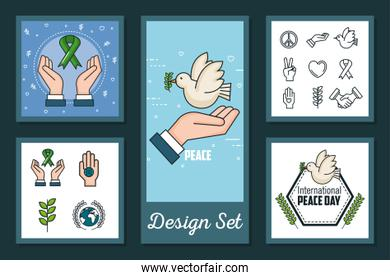 designs set of international peace day with icons
