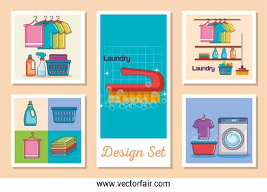 designs set of laundry and icons