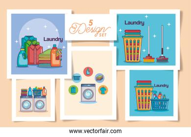 five designs of laundry and icons