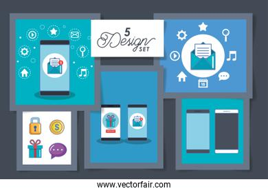 five designs of smartphone and social media icons