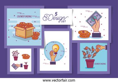five designs of crowdfunding and icons