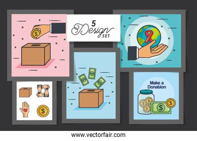 five designs of make a donation with icons