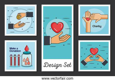 designs set of make a donation with icons