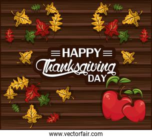 happy thanksgiving day card with apples and leafs
