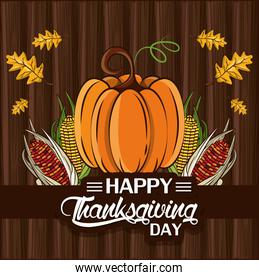 happy thanksgiving day card with pumpkin and leafs
