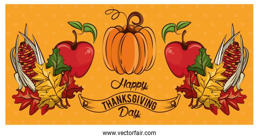 happy thanksgiving day card with vegetables