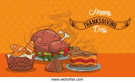 happy thanksgiving day card with delicious food