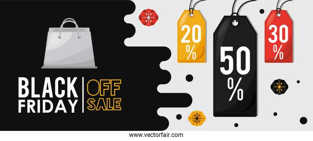 black friday sale poster with commercial tags