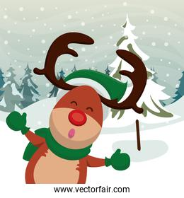 happy merry christmas card with cute reindeer
