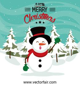 happy merry christmas card with snowman