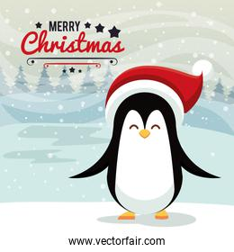 happy merry christmas card with penguin