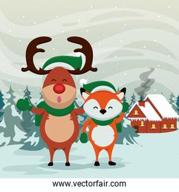 happy merry christmas card with fox and reindeer