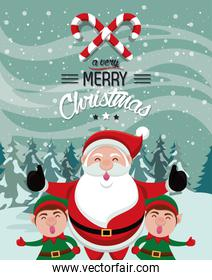 happy merry christmas card with santa claus and helpers