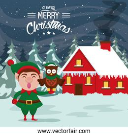 happy merry christmas card with helper elf and owl